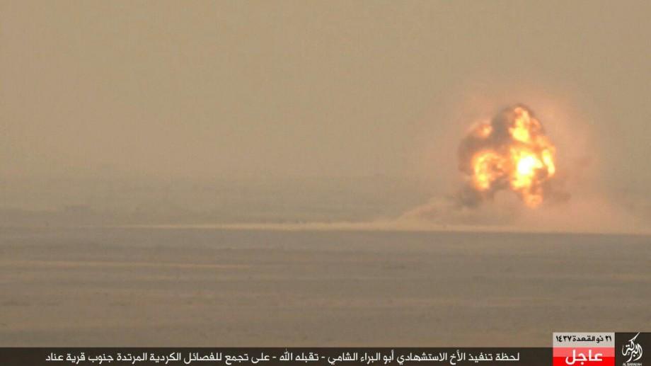 لحظة تنفيذ الأخ الاستشهادي أبو البراء الشامي ـ تقبله الله ـ على تجمع للفصائل الكردية coobra.net