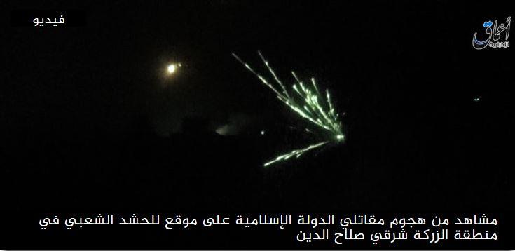 مشاهد من هجوم مقاتلي الدولة الإسلامية على موقع للحشد في منطقة الزركة شرقي صلاح الدين coobra.net