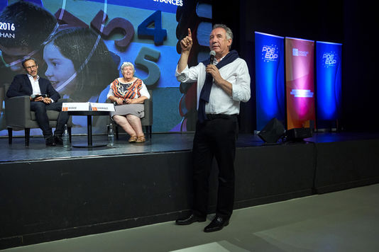 François Bayrou à l'université d'été du MoDem à Guidel, le 25 septembre.