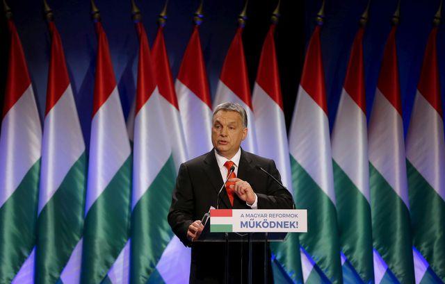 Viktor Orban prononce son discours sur l'état de la nation à Budapest en février 2016.