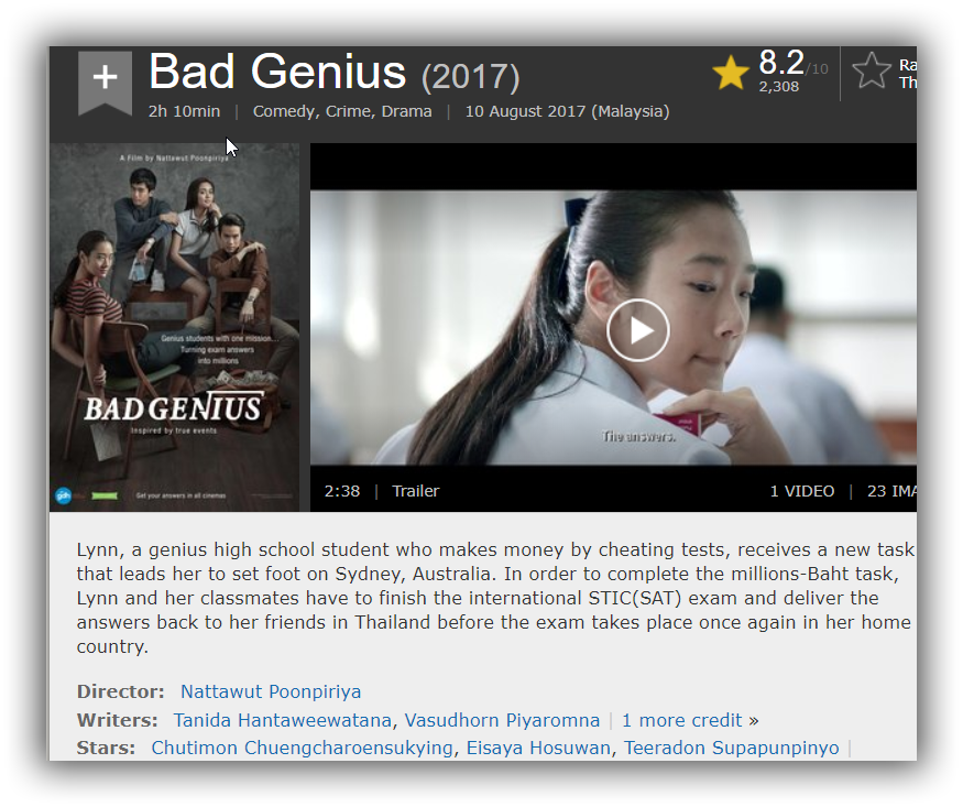bad genius english subtitle 720p