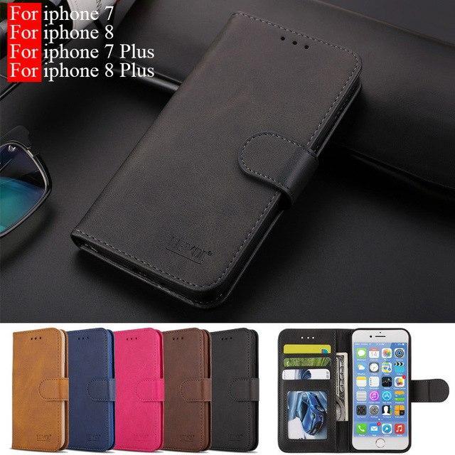 Telefoon için Hoesje iphone 7 kılıf deri Vintage cüzdan Coque iphone 8 için kılıf kapak manyetik