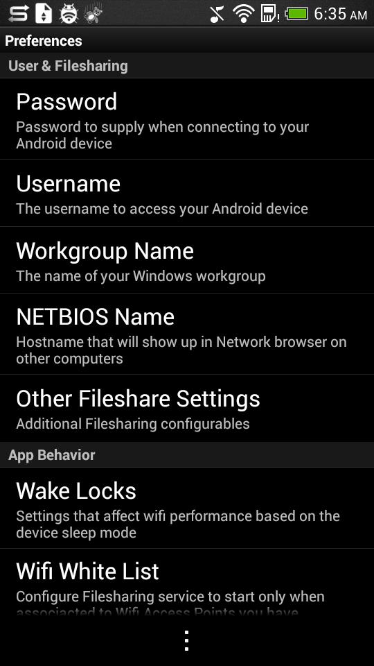 Главный экран и настройки Samba Filesharing