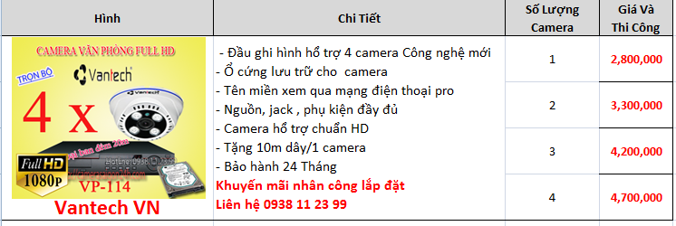 báo giá lắp đặt camera quan sát giá rẻ thương hiệu vantech