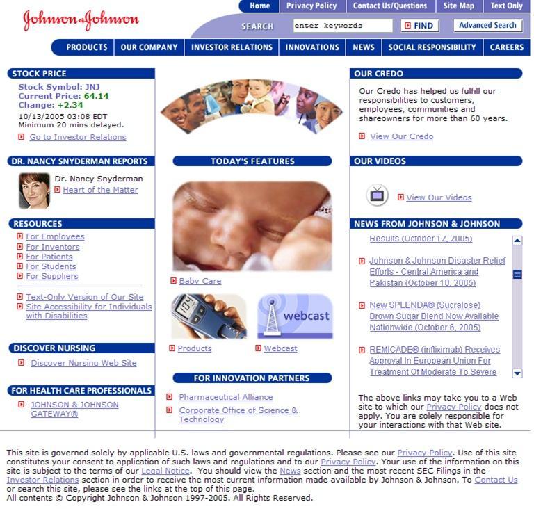 Johnson & Johnson homepage