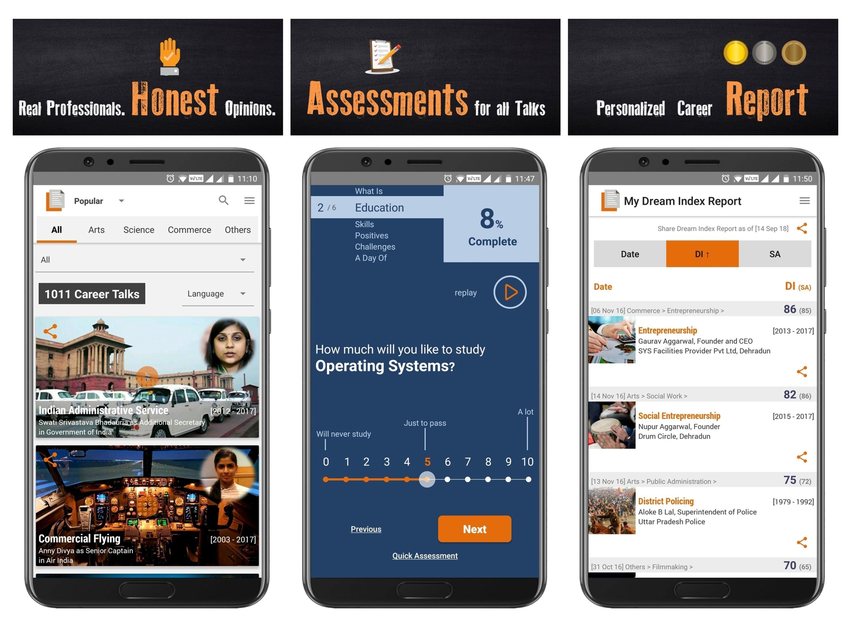 LifePage App – choose a Career in 3 steps