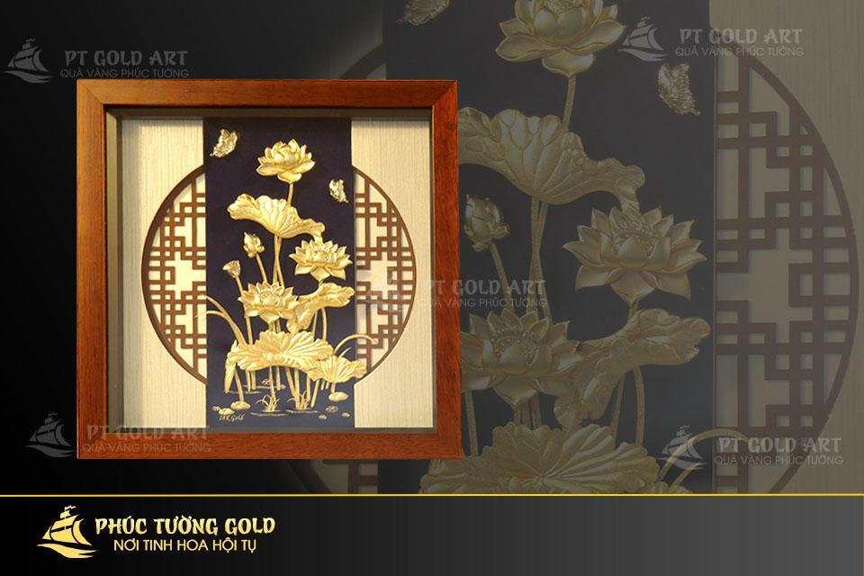 Tranh hoa sen 3D dát vàng 24k