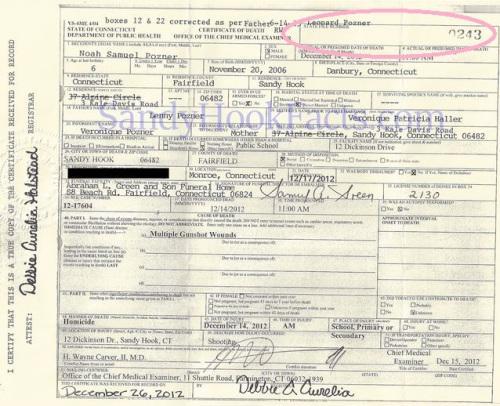 Noah death certificate SandyHookFacts.com