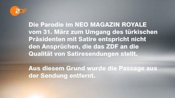 Hinweistafel über Qualitätsanforderungen des ZDF