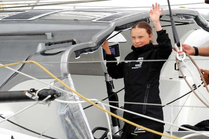 La jeune militante suédoise Greta Thunberg arrive au port de New York, le 28 août.
