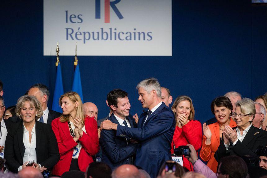Francois-Xavier Bellamy et Laurent Wauquiez, lors d'un meeting à Lyon.