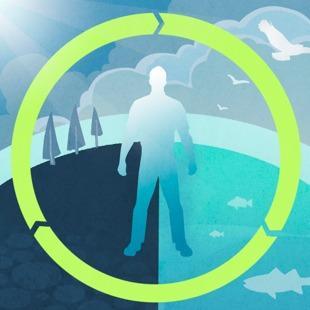 Sylwetka człowieka symbolizująca jego wpływ na lądy, oceany oraz atmosferę ziemską