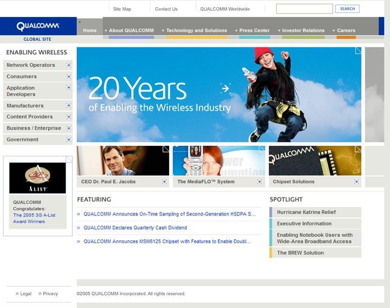 Qualcomm homepage