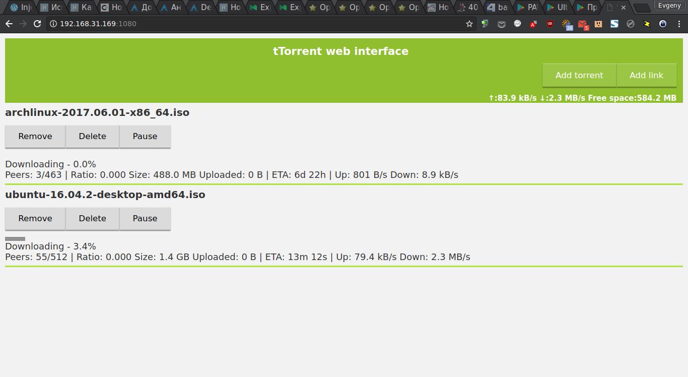 Веб-интерфейс tTorrent