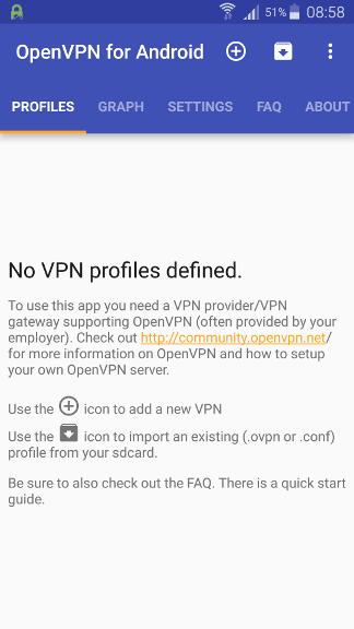 OpenVPN на Android: главное меню и импорт профиля