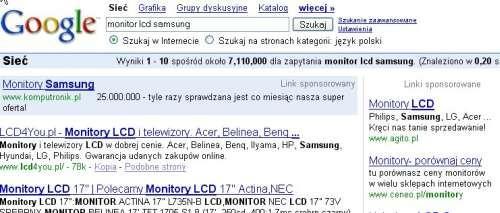 Przykłady reklamy AdWords