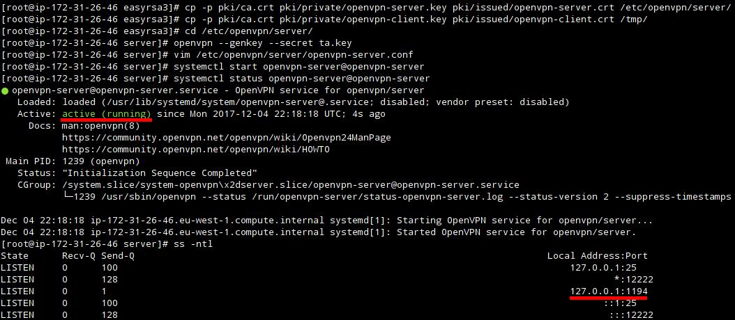 Статус OpenVPN