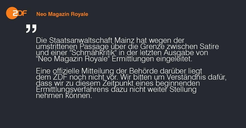 ZDF-Presseinformation zu staatsanwaltschaftlichen Ermittlungen