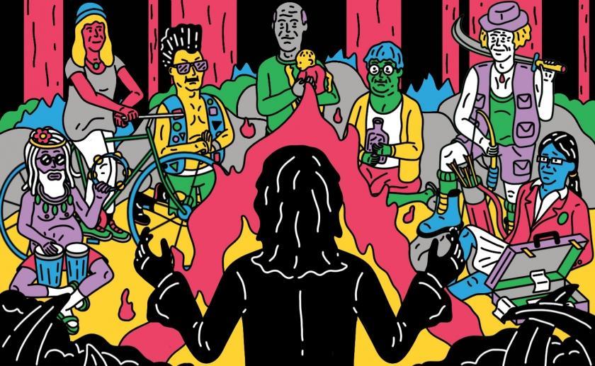 Illustration colorée montrant un homme vêtu de noir, de dos, face à une assemblée de personnages autour d'un feu de camp