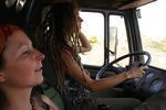 with Agnes in her truck