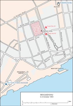 Operacja w Mogadiszu - plan miasta