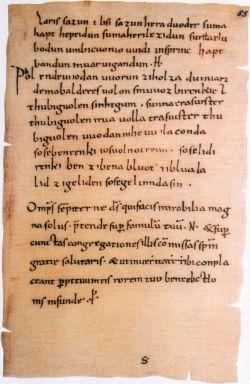 Zaklęcia Merseburskie (Merseburger Domstiftsbibliothek, Codex 136, f. 85r, 10th Cy.)