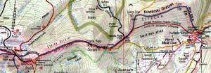 Mapa ze szlakami z Przełęczy Okraj na Śnieżkę
