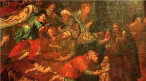 Изображение Иудейского жертвоприношения младенца в Сандомирце