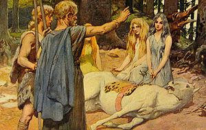 """Odyn leczący Baldra"" [Wodan Heals Balder's Horse]-Emil Doepler (1905 rok)"