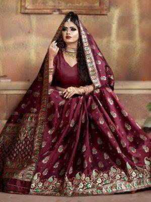 https://b4ufashioncollection.com/product/new-elegant-look-maroon-peacock-butta-kanjivaram-silk-with-blouse-piece/