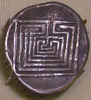 Moneta kreteńska przedstawiająca labirynt w Knossos