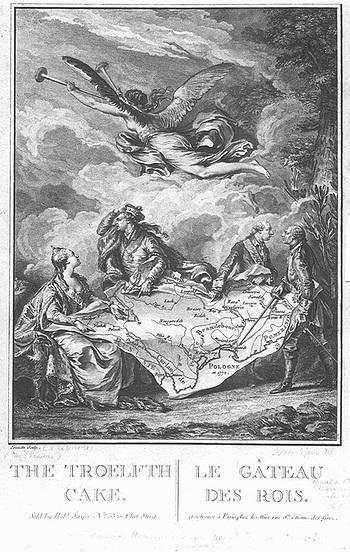 Kołacz królewski – alegoria rozbioru Polski, miedzioryt wykonany na podstawie rysunku przez Nicolas Noël Le Mire