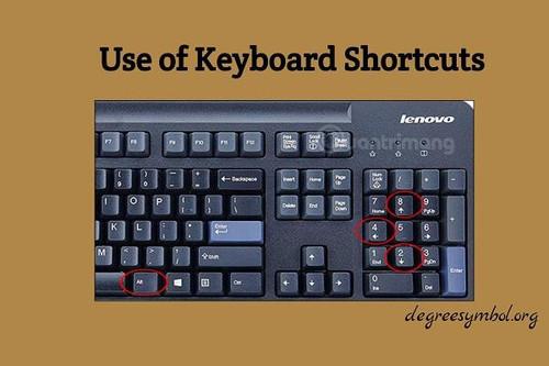 Type Degree Using Keyboard Shortcuts
