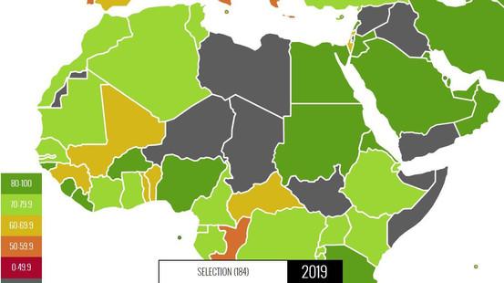 خارطة الدول العربية بحسب مؤشر العبء الضريبي