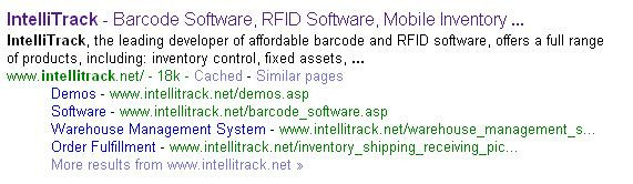 IntelliTrack search result
