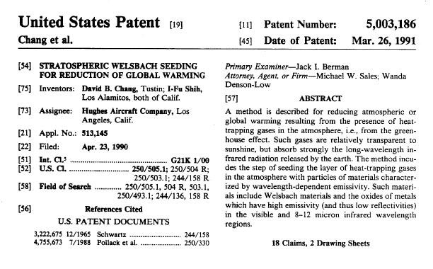 chemtrail patent