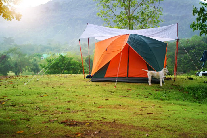 place a rainfly or tarp over tent