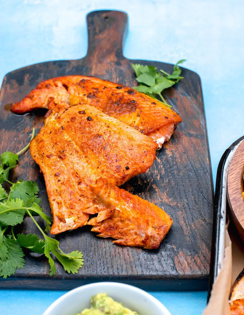 Perfectly seared salmon dusted with spicy sazon.