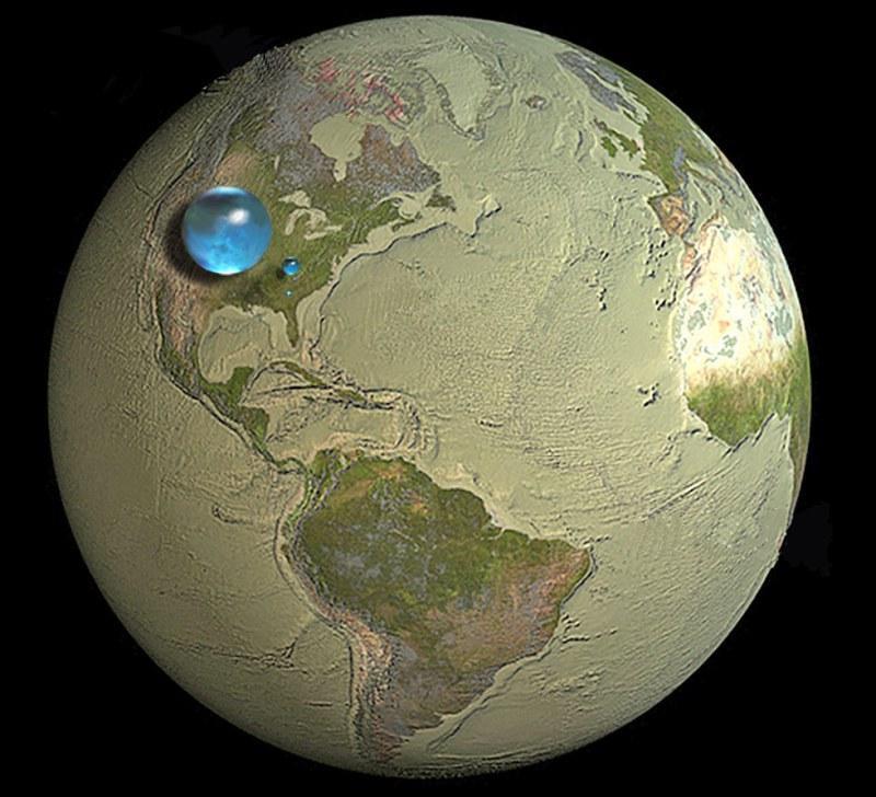 Gdyby zgromadzić całą wodę na Ziemi w kroplę, to kula miałaby średnicę około 1500 km