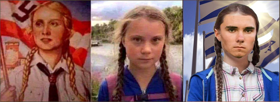 David Hogg and Gret Thunberg Nazi Control od Children.jpg